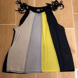 Women's NY&Co XL color block top with tie straps